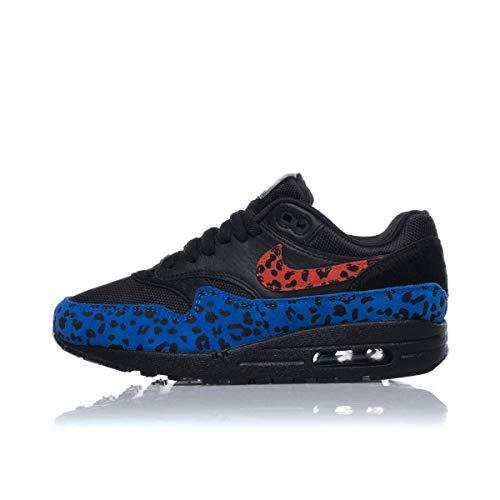 Nike W Air Max 1 Premium Black Leopard BV1977-001 Black Habanero Red Race Blue, Schwarz - schwarz - Größe: 37.5 EU