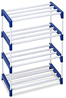 Ebee 8 Pair Metal Shoe Stand (Blue, 4 Shelves)