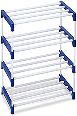 Ebee 8 Pair Metal Shoe Stand (Blue, 4 Shelves)