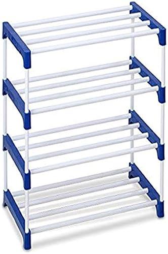 Ebee 8 Pair Metal Shoe Stand Blue 4 Shelves