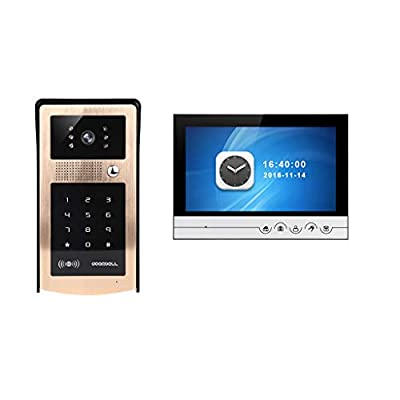 Iuhan 9in Video Door Phone Doorbell Wires Video Intercom Monitor Wired Door Bell Home Security System with Night Vision and Push Button HD Camera (Gold)