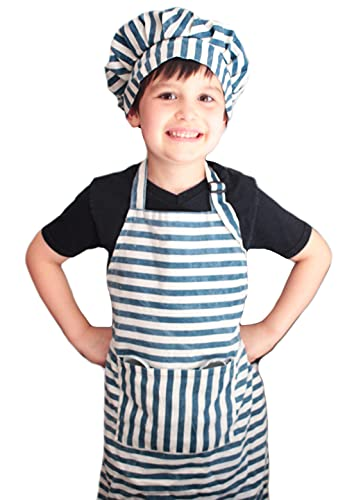 Dapper&Doll Kids Apron and Chef Hat - Gift Set for Boys Girls Ages 4-10 - Blue Stripe
