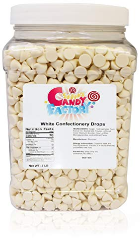 Sarah's Candy Factory Premium White Chocolate Chips Baking Drops in Jar, 3 Lbs l For Cookies, Muffins, Cakes & Pastries Fondue Chocolate & Melted Chocolate, Ice Cream and Baking Chocolate Chips l