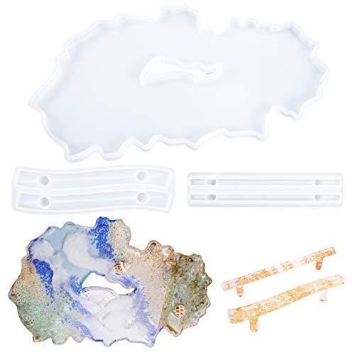 Gukasxi - Moldes de resina de silicona, diseño de geoda de ágata con mango, moldes irregulares de resina epoxi para hacer bandeja de ágata sintética, tabla de servir