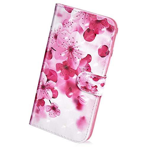 Herbests Kompatibel mit Samsung Galaxy A8 2018 Hülle Klapphülle Leder Tasche Flip Schutzhülle Wallet Handyhülle 3D Bunt Muster Glänzend Bling Glitzer Brieftasche Handytasche Case,Pink Blumen