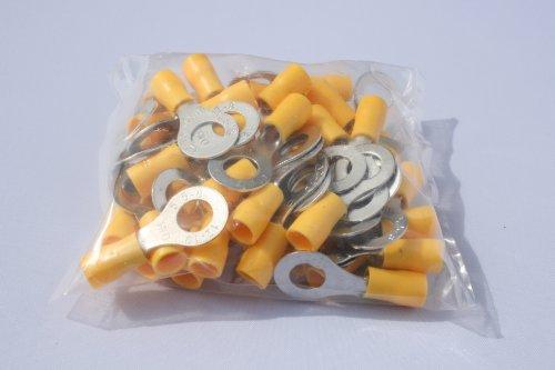 profitec 50 Stück Kabelschuh Ring M 8 gelb für Kabel 4,0 mm²- 6,0mm²
