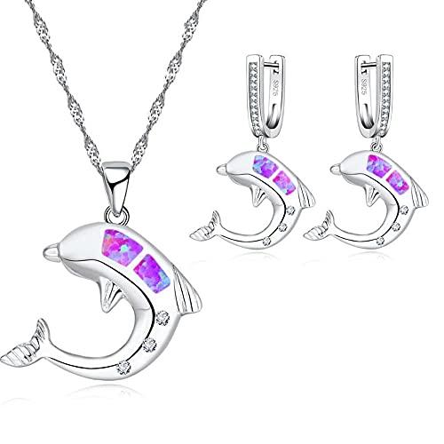 Collar Tendencias europeas y americanas Moda Conjunto de tres diamantes con delfines Conjunto de collar y pendiente de tres piezas-Morado