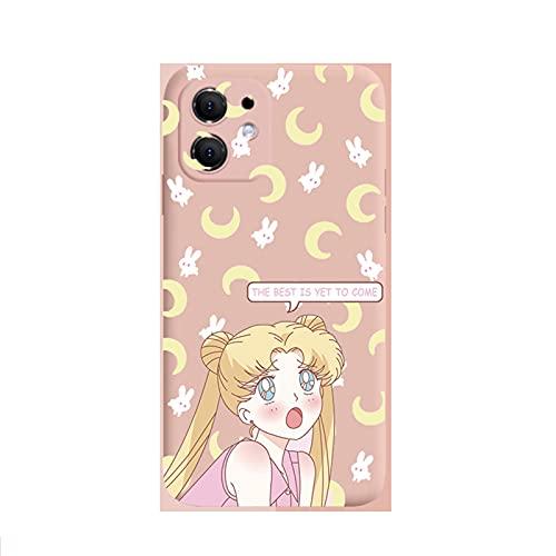 ZMMZ Sailor Moon Anime Series - Funda para iPhone 6 7 8P XR, gel de sílice líquido para mujer, antihuellas dactilares, funda protectora de cuerpo completo, color rosa B-xsmax 8p