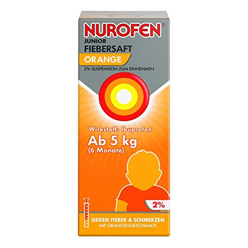Nurofen Junior Fiebersaft 2% Orange – Mit Ibuprofen zur Linderung von Fieber und Schmerzen – Für Kinder und Säuglinge ab 6 Monaten – 1 x 100ml