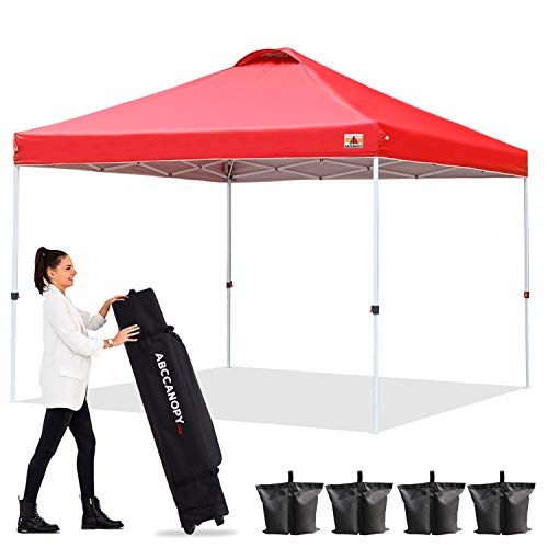 ABCCANOPY 3x3 Pop Up Gazebo Tent Canopy Outdoor Gazebos Super Comapct Gazebo Portable Tent Beach Gazebo Shade Gazebo Tent with Wheeled Carry Bag Bonus 4xWeight Bags,4xRopes&4xStakes,Red