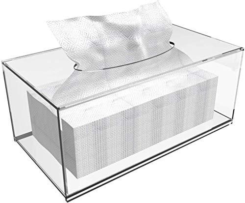 Yieach Taschentuchspender mit Abdeckung, quadratisch, für Gesichtspapier, transparenter Kunststoff, für Badezimmer, Küche, Zuhause, quadratisch (26 x 14 x 12 cm)