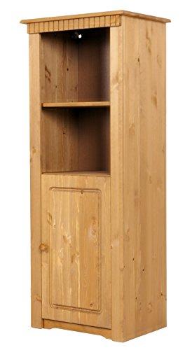 clever-moebel Regal mit Tür aus Kiefernholz, gelaugt/geölt; Vitrine, Schrank
