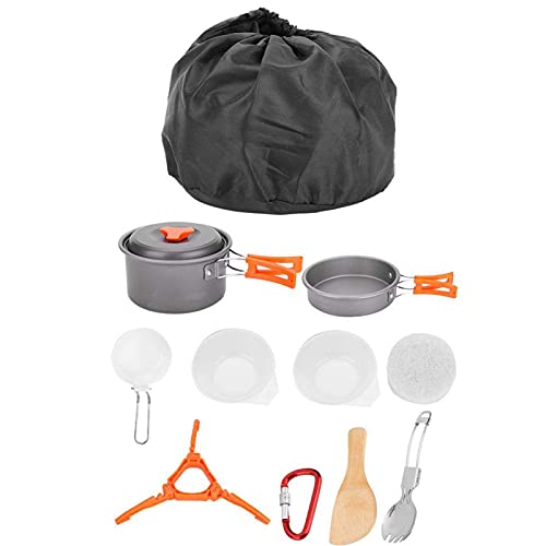 Portable Camping Cookware Kit with Stove, Camping Pots and Pans Set, Backpacking Camping Cookware Mess Kit for Outdoor Hiking and Picnic
