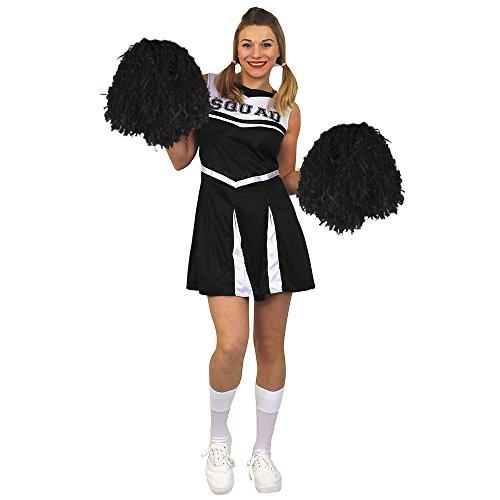 ILOVEFANCYDRESS Déguisement pour Femme de Cheerleader avec Un Ensemble Noir Haut et Jupe en 1 pièce + Une Paire de Pompoms Noirs. Idéal pour Les enterrements de Vie de Jeune Fille. ( XXLarge )