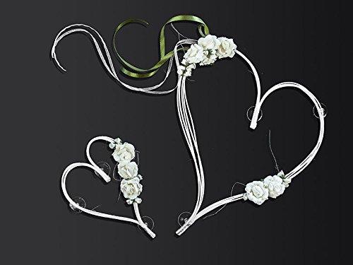 Décoration de voiture pour mariage, cœurs en rotin avec fleurs, Rotin, creme/weiß deluxe, 19
