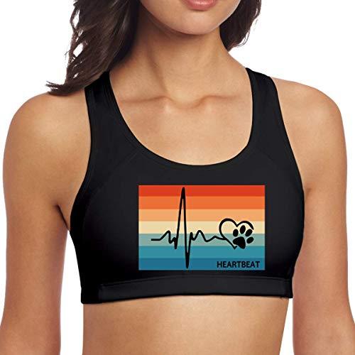 Retro Heartbeat Lifeline Love Dog Paw Womens Gym Yoga Bra