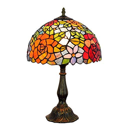 ZJRHM Tiffany-Art-leestafel naast lampenlicht -12 inch pastoraal roos handgemaakte glasverf schaduw bureaulampen voor binnen