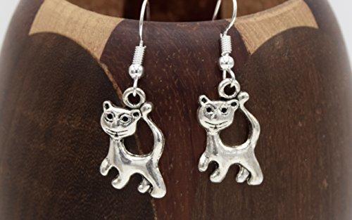 Boucles d'oreilles chat argenté, clips chat argenté