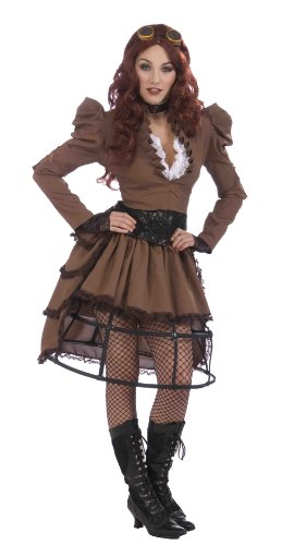 Forum Novelties AC543 Steampunk Vicky Reifrock kostuum, wit, UK maat 10-12