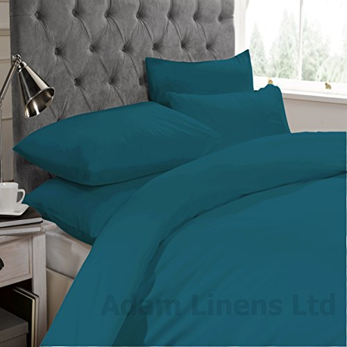 Adam Linens Plain Dyed Poly Cotton Duvet Quilt Cover Bed Set With Pillow Cases All Sizes (Teal, King)