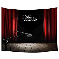 GOOESING タペストリー リビングルームの音楽コンサートステージ赤いカーテン 木製の床音楽 おしゃれなタペストリー 壁掛け装飾