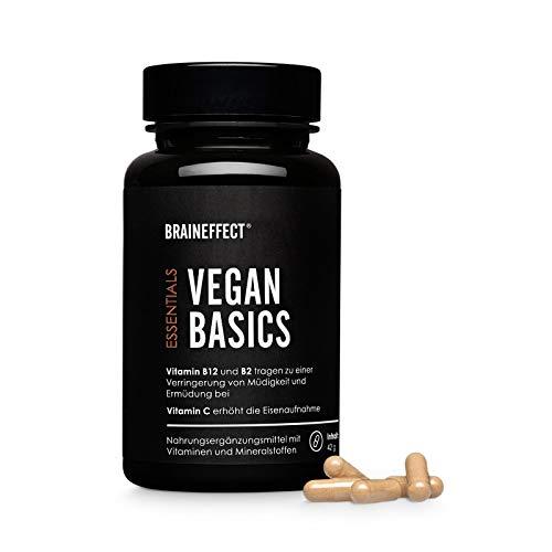 BRAINEFFECT VEGAN BASICS I Mineralien-Vitamin-Mix I mit B12 & B2, Vitamin C, Eisen & Zink I 90 Kapseln