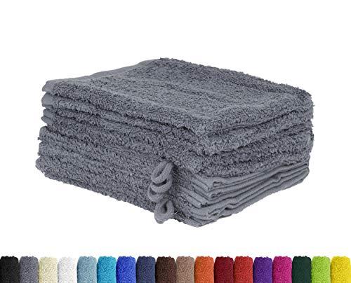 BaSaTex Lot de 10 Gants de Toilette en 100% Coton - 15 x 21 cm, Coton, Anthracite, 15 x 21 cm