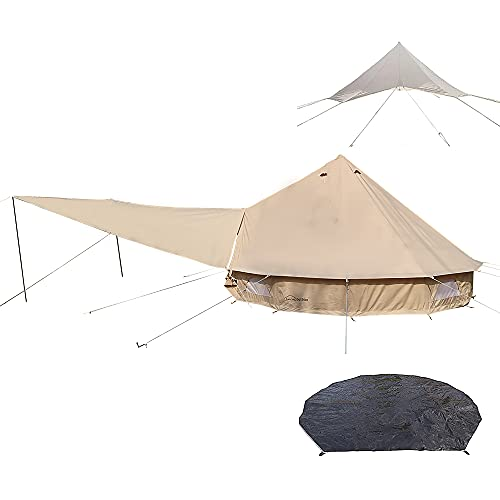 DANCHEL OUTDOOR Cotton Canvas Bell Tent with one Stove Jack, Waterproof Front Awning Camping Tarp, Rain Fly and Footprint Tent Tarp for Glamping, 10ft