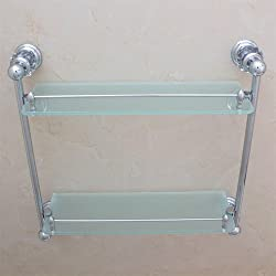 TACCY Double Bathroom Glass Shelf with Two Polished Chrome Silver Finish Brackets Brass made Toughened Safety