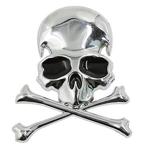 zhcode Car Stickers Metal 3D Wicked Skull Bone Shape Motocicleta Coche Emblema Distintivo
