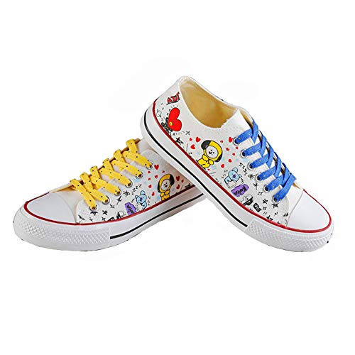 GFEIW BT21 Low Tops Schuhe Low White Kpop Sneakers Canvas Schuhe Womens ' Size Fanshion Memeber Hiphop Style Fan Support JUNG KOOK Jimin V Suga Frauen Casual Shoes,40