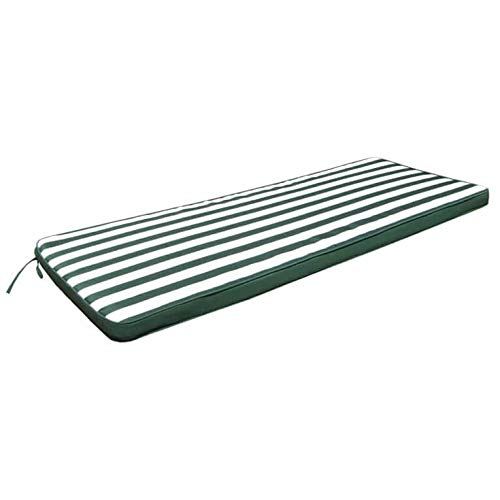 Milani Home s.r.l.s. Cuscino 150 Riga Verde con Doppia Cucitura per Panca O Dondolo 3 POSTI per Esterno IDROREPELLENTI Resistente all'Acqua