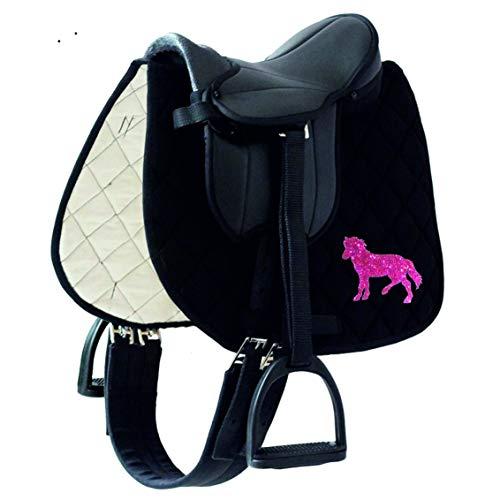 Sattelset Little Pony/Star für Holzpferde/Shetty mit Schabracke Sparkling Pony (Schabracke schwarz Pony Sparking PINK)