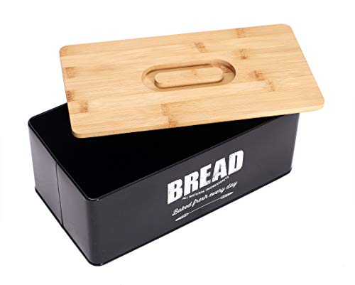 Geyecete Bread Box Breadbox Bread Holder Living Bread Bin for Long-Lasting Freshness, Cream bread Box with wooden Lid -Black