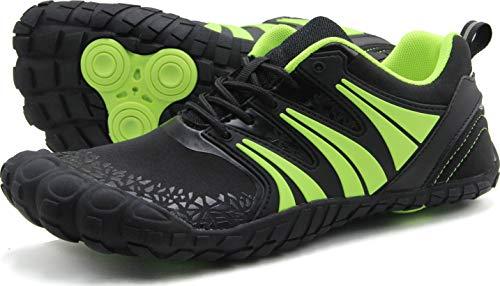 Oranginer Men's Zero Drop Shoes Barefoot Comfortable Five Toe Shoes for Men Black/Green Size 13