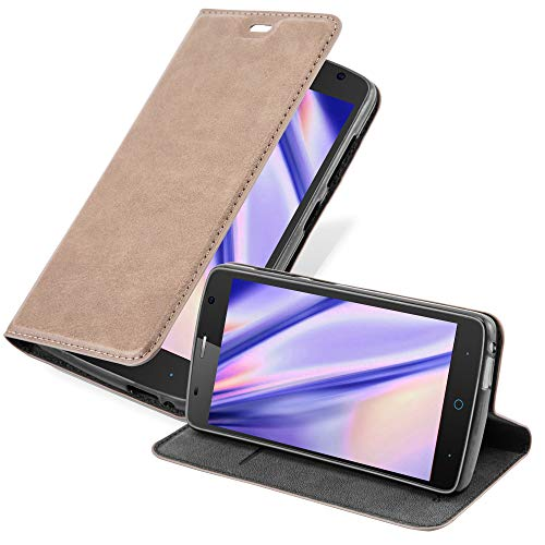 Cadorabo Hülle für ZTE Blade L5 Plus in Kaffee BRAUN - Handyhülle mit Magnetverschluss, Standfunktion & Kartenfach - Hülle Cover Schutzhülle Etui Tasche Book Klapp Style