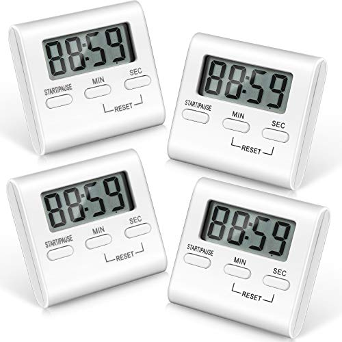4 Pieces Digital Kitchen Countdown Timer Kitchen Timer Cooking Timer with Loud Alarm Big Digits and Back Stand for Cooking, Classroom, Bathroom, Teachers, Kids