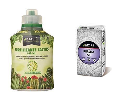 Semillas Batlle Abonos Fertilizante Cactus Botella 400ml + Sustratos Perlita 5L