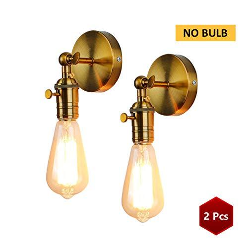 Gold Wall Sconce Iluminación Industrial, Lámpara De Pared Vintage Pared Luz Loft para E27 Bulb Iron Retro Home Deco Accesorios De Iluminación B