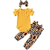 Newborn Baby Girl Ruffle Ribbed Romper Top Floral Leopard Pants Headband Outfits Yellow