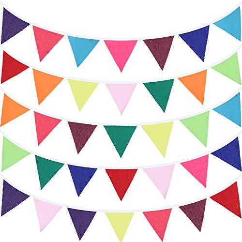 49,2 Fuß Stoff Bunting Banner 46 Stück Mehrfarbig Dreieck Flaggen Wimpel Banner Ammer Girlanden für Hochzeit Baby Shower Geburtstag Party Dekoration Indoor Outdoor Aktivität (Rainbow Color)