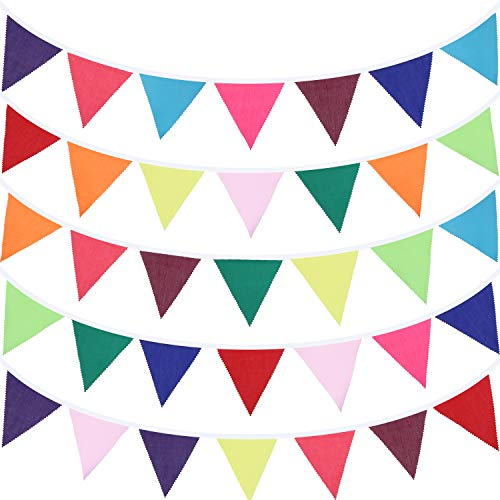 49.2 Feet Fabric Bunting Banner 46 Pieces Multicolor Triangle Flags Pennant Banners Bunting Garlands for Wedding Baby Shower Birthday Party Garden Decoration Indoor Outdoor Activity (Rainbow Color)