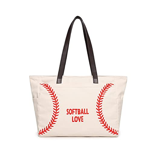 Baseball Tote Bag Oversized Utility Canvas Softball Emboidery Travel Shoulder Handbag for Women Mom Gift with Pockets Suitable for Women Teens Kids Sports Beach Casual Game Season(Large, White)