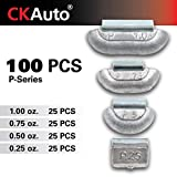 CKAuto 100Pcs P Type Lead Clip on Wheel Weights Assortment, 0.25oz, 0.5oz, 0.75oz, 1.0oz, 25Pcs for Each Style, Uncoated