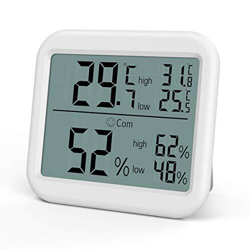 最新版 AMIR 温湿度計 温度計 湿度計 デジタル 壁掛け マグネット シンプル おしゃれ インテリア 3段階の快適度目安表示 LCD大画面 最高最低温湿度表示 置掛兼用 高精度 コンパクト リビング 室内 赤ちゃん 見やすい ホワイト