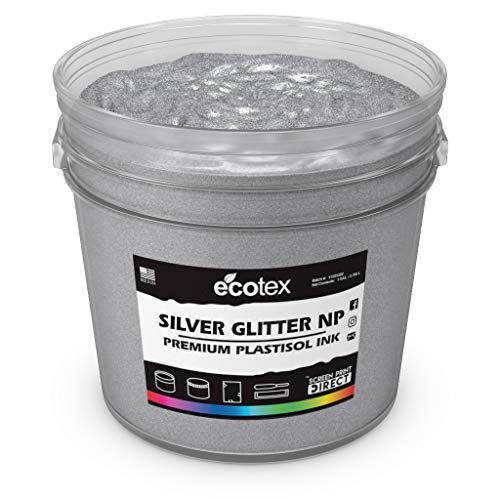 Ecotex Silver Glitter Plastisol Ink for Screen Printing Non-Phthalate Bold Creamy Formula - All Sizes (Gallon)