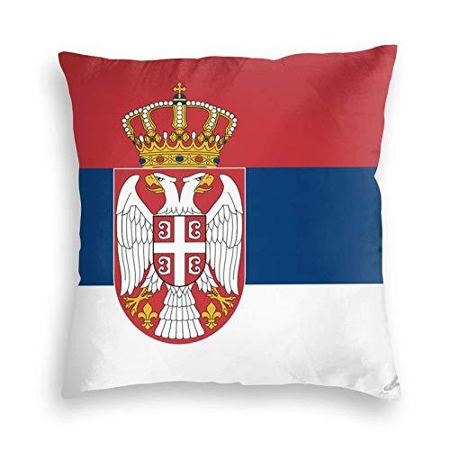 SUN DANCE Funda de cojín decorativa suave con la bandera de Serbia para sofá, coche, cama, 50,8 x 50,8 cm