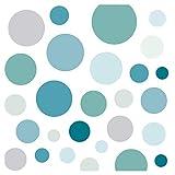 Little Deco Wandaufkleber 86 Punkte Kinderzimmer Kreise Junge I Mint grau blau I Wandtattoo Klebepunkte Wandsticker Set Dots bunt selbstklebend DL539-21