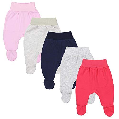 TupTam Pantalón con Pies de Bebé para Niña, Pack de 5, Mix de Colores 1, 62
