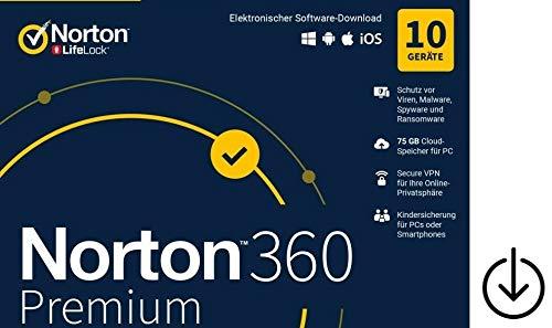 Norton 360 Premium 2020|OHNE ABO|keine Kreditkarte oder PayPal erforderlich|10Geräte|1Jahr|Aktivierungscode per Post [Lizenz][KEINE CD][NO